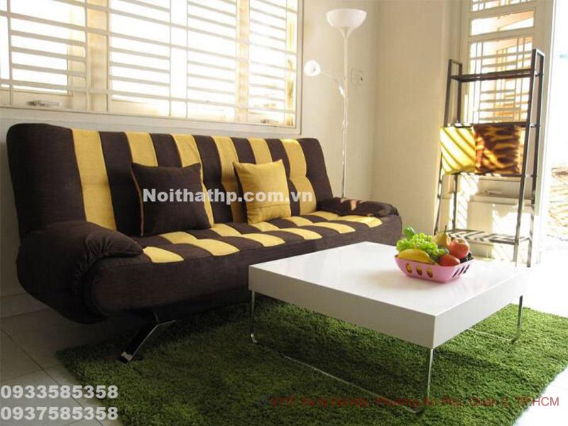 Ghế sofa bed sọc nâu vàng DA28