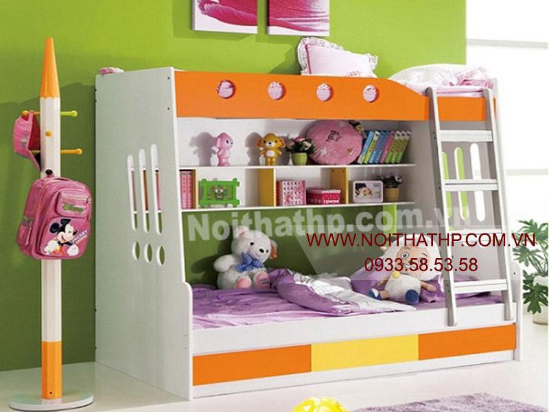 Giường tầng trẻ em bộ màu xanh giá rẻ MS819A