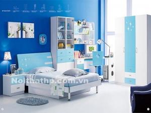 Giường tủ trẻ em giá rẻ màu xanh MS818